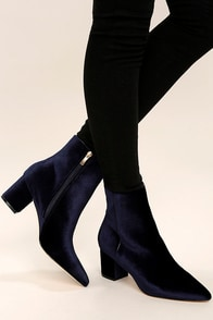 Steven by Steve Madden Bollie Blue Velvet Pointed Booties
