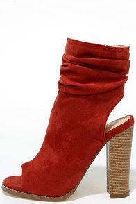 Only the Latest Cinnamon Suede Peep-Toe Booties