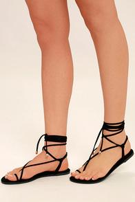 Micah Black Lace-Up Flat Sandals
