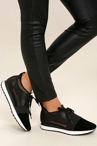 Steve Madden Altitude Black Leather and Mesh Sneakers