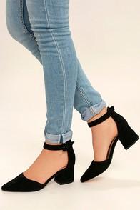 Steve Madden Dainna Black Suede Leather Ankle Strap Heels