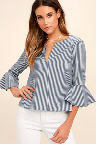Take Me Somewhere Blue and White Striped Top