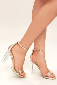 Calista Rose Gold Lucite Heels