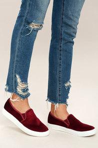 Dirty Laundry Franklin Merlot Velvet Slip-On Sneakers
