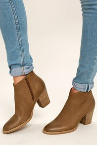 Steve Madden Gilmore Tan Nubuck Leather Ankle Booties
