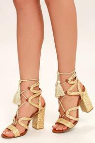 Mia Gigi Natural Raffia Lace-Up Espadrille Heels
