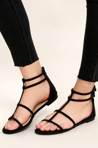 Jayne Black Suede Gladiator Sandals