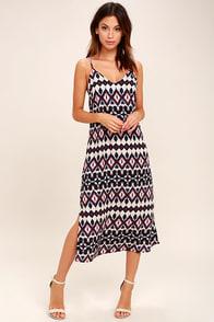 Tahiti Sweetie Navy Blue and Beige Print Midi Dress