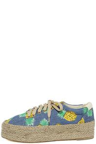 Luana Blue Print Espadrille Flatform Sneakers