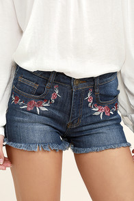Rustic Charm Medium Wash Embroidered Denim Shorts