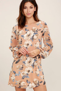 This Time Around Blush Floral Print Long Sleeve Shift Dress