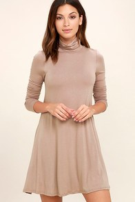 Sway, Girl, Sway! Taupe Swing Dress