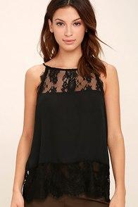 BB Dakota Yasmine Black Lace Sleeveless Top