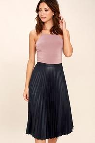 Like a Phenomenon Navy Blue Pleated Midi Skirt