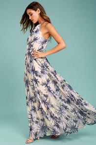 Gazebo Spirit Pale Blush and Purple Floral Print Maxi Dress