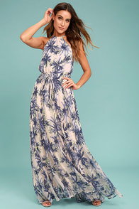 Gazebo Spirit Pale Blush and Purple Floral Print Maxi Dress
