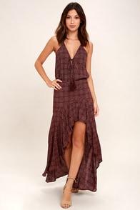 Captivating View Burgundy Print High-Low Skirt