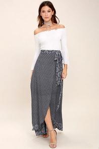 Lovely Blue and White Print Skirt - Wrap Maxi Skirt - Print Wrap ...