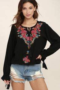 Merrymaking Black Embroidered Long Sleeve Top