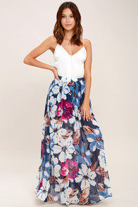 Ark & Co Twilight Temptation Navy Blue Floral Print Maxi Skirt