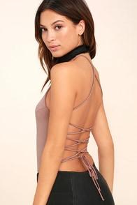 Yvonne Mauve Lace-Up Bodysuit