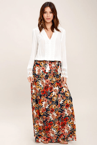 Lucy Love Midnight Moonlight Navy Blue Floral Print Maxi Skirt