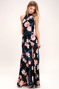 Blooming Garden Black Floral Print Halter Maxi Dress