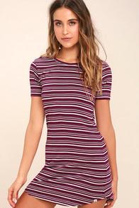 Element Eden Remy Burgundy Striped Shirt Dress