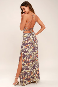 Rather Ravishing Dusty Purple Floral Print Lace-Up Maxi Dress
