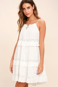 Moon River Sunrise Point Off-White Lace Swing Dress