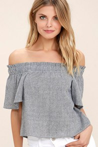 Seas the Day Blue and White Striped Off-the-Shoulder Top