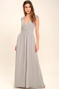 Whimsical Wonder Light Grey Lace Maxi Dress