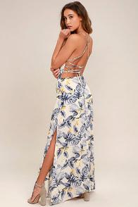 Rather Ravishing Cream Floral Print Lace-Up Maxi Dress