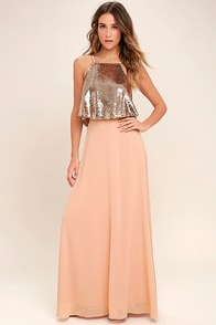 Wow Factor Rose Gold Sequin Two-Piece Maxi Dress
