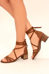 Steve Madden Revere Cognac Suede Leather Lace-Up Heels