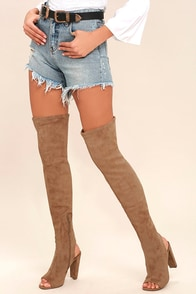 Steve Madden Kimmi Camel Suede Peep-Toe Thigh High Boots