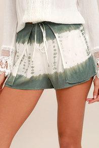 Let's Explore Sage Green Tie-Dye Shorts