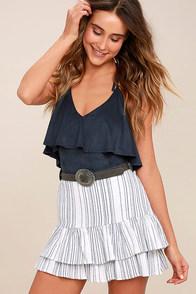 Meet Me in the Hamptons Blue and White Striped Mini Skirt