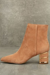 Steven by Steve Madden Bailei Sand Suede Leather Booties