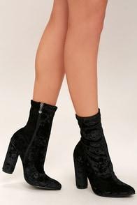 Marvel Black Velvet Mid-Calf Boots