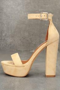 Josephine Nude Suede Platform Heels