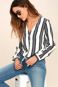 Cole Valley Black and White Striped Top