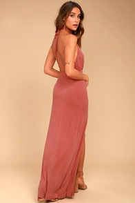 Be Your Hero Rusty Rose Halter Maxi Dress