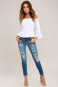 Jean-ius Idea Medium Wash Distressed High-Waisted Skinny Jeans