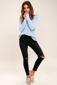 Who Loves You Washed Black Distressed Skinny Jeans