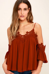 Daily Devotion Rust Red Lace Off-the-Shoulder Top