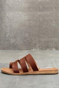Steve Madden Hestur Cognac Leather Sandals