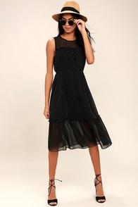 Afternoon Stroll Black Polka Dot Midi Dress