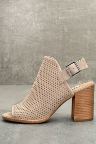 Steve Madden Neptune Ice Taupe Nubuck Leather Cutout Booties