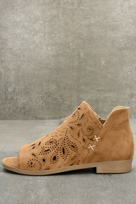 Coolway Nelia Cognac Suede Leather Cutout Peep-Toe Booties